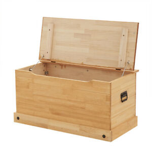 Solid Pine Storage Ottoman Chest Toy Bedding Blanket Trunk  Bench Box Large