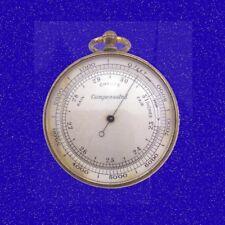 Stunning Gilt Brass Cased Aneroid  Pocket Watch Barometer Altimeter 1870 & Case