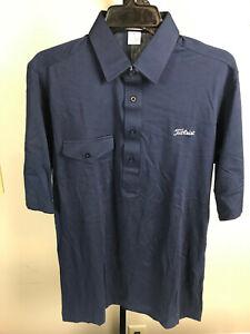 Titleist Golf Shirt Mens Medium Navy Embroidered White Titleist Logo 55/45 NEW