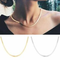 Stainless Steel Snake Chain Necklace Clavicle Blade Statement Choker Women Hot