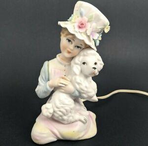 Vintage Lady w/ Flower Hat & White Poodle Dog Porcelain Night Light Pastel Lamp