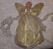 Vtg Angel Christmas Tree Topper Lights Up Gold Dress porcelain head Working
