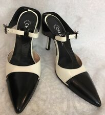 Chanel shoe black and ivory Back strap pump Size 39