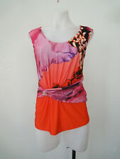 ROBERTO CAVALLI  Signed fabric w pin wrap front Blouse Top Sleeveless Sz L Italy