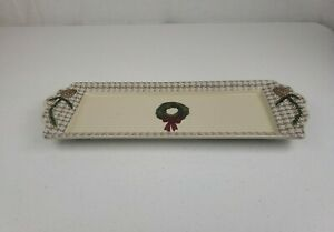 ST. NICHOLAS SQUARE Snow Valley Christmas Serving Tray Plate Appetizers Cookies