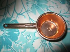 Vintage Tin COPPER Embossed Measuring 1/4 Cup METALWARE w handle DOG CAT food