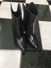 NIB 100% AUTH Chanel 15B G31127 Black Calf Leather Cowboy Short Boots Sz 37.5