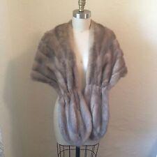 Vtg 50's Silver Gray Blonde Mink Fur Stole Wrap