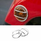 Chrome Fit For Jeep Wrangler JK 2007-2017 Wheel Eyebrow Light Lamp Cover Trim 2X