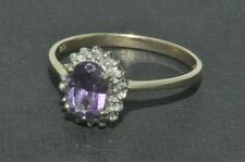 9ct gold traditional amethyst & diamond cluster ring size P
