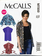 MCCALL'S SEWING PATTERN 7200 MISSES 4-14 UNLINED, LOOSE-FITTING KIMONO JACKETS