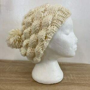 H&M Ladies Beige Thick Chunky Knitted Slouch Pom Pom Warm Winter Beanie Hat