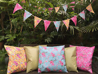 FLORAL 100% WATERPROOF OUTDOOR PVC COATED GARDEN BENCH SEAT CUSHIONS & BUNTING