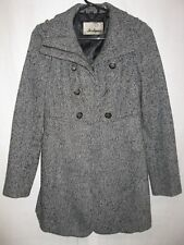 Guess Los Angeles women XS black White wool Blend Double Breast Pea coat Jacket