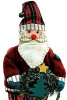 "Folk Art Santa On A Shelf Fabric 20"" Plush Pre-Owned Very Clean Nice"