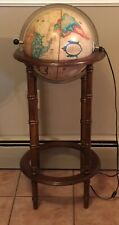 Vintage World Discovery Globe 1986 San Globe Lighted In Powell Wood Floor Stand