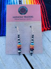 Navajo Sterling Silver Pearl, Turquoise & Spiny Oyster Beaded Dangle Earrings