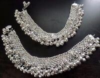 tribal kuchi boho silver bells 2 ankle bracelet bellydance costume jewelry India