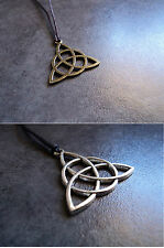 New Bronze / Silver Celtic Knot Triquetra  Necklace Pendant Black/ Brown Cord