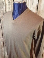 VTG Thomas Burberry by Burberry Mens LS V-Neck Sweater Solid Light Beige K1-16