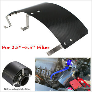 "Car Air Intake Filter Heat Shield Cover 2.5-5"" Stainless Steel Carbon Fiber Look"