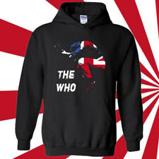 THE WHO Guitar Action Rock Band Legend Black Hoodie Size S-3XL