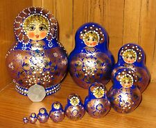 Genuine Russian Matryoshka nesting dolls 10 COBALT BLUE GOLD Babushka Aymasova