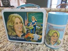 VINTAGE VERY GOOD OLD 1977 THE BIONIC WOMAN METAL LUNCHBOX AND THERMOS