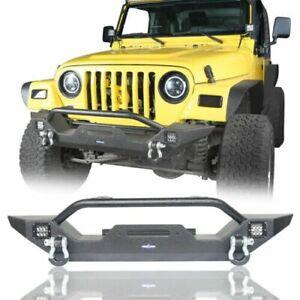 Steel Black Front Bumper w/ D-Ring & Winch Plate Fit 1997-2006 Jeep Wrangler TJ