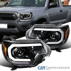 For 12-15 Toyota Tacoma Pearl Black LED DRL Projector Headlights Signal Lamps