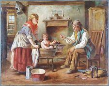 """Ancien Tableau """"Le Bain"""" Peinture Huile Antique Oil Painting"""