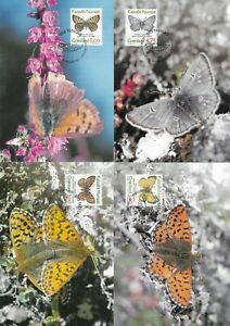 Arctic Butterfly Set Lycaena Phlaeas Boloria..,  Greenland 4 Maxi FDC Cards 1997