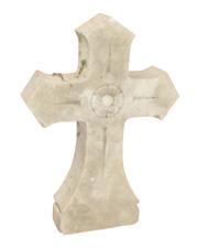 Ancienne Croix Pierre Sculpté Sépulture Vintage Halloween Tombe Religion Christ