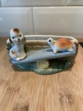 More details for vintage rare hornsea fauna with puppy & tortoise on seesaw kitsch cute retro