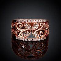 Fashion Women 18k Rose Gold Plated Crystal CZ Zircon Clover Flower Wedding Ring