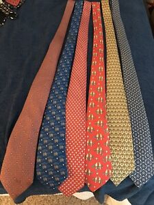Lot of 6 Hermes Mens Ties 80s 90s vintage
