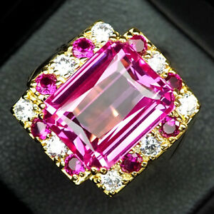 TOPAZ PLATINUM PINK OCTAGON 14 CT.RUBY SAPP 925 STERLING SILVER GOLD RING SZ 7