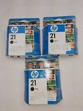 3 HP 21 Black InkJet Print Cartridge Expired 2010