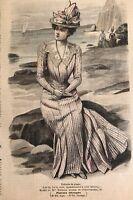 French MODE ILLUSTREE SEWING PATTERN June 10,1900 TOILETTE DE PLAGE , DOLL DRESS