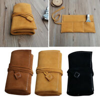 Genuine Cow Leather Travel Watch Roll Up Case Vintage Soft Organiser 3 Pouch Bag
