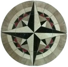 MARBLE FLOOR MEDALLION MOSAIC TRAVERTINE AND GRANITE 36 COMPASS ROSE STAR