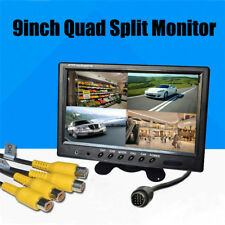 Car RearView Monitor 9''TFT LCD Split Screen Quad Monitor Security Surveillance