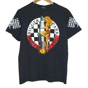 Bigger Spark Better Bang Hot Rod Pin Up Rockabilly Mens Black T-Shirt Size M