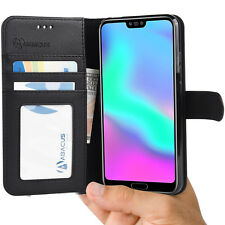 Black Wallet Case Flip Cover w/ Stand for Huawei Honor 10 - by Abacus24-7