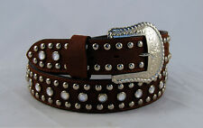 NEW LEATHER BELT RHINESTONES AND STUDS SIZE 36 BROWN