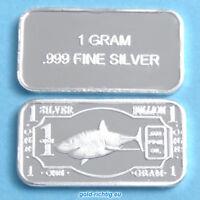 1 Gramm Silberbarren - Hai (Silber Feinsilber Barren weißer White Shark) NEU