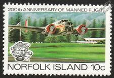 BEECHCRAFT Model 18 (Twin Beech) Aircraft Mint Stamp (1983 Norfolk Island)