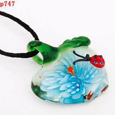 1pc fashion Blue apple shape Lampwork Glass beaded pendant necklace p747
