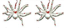 SPOOKY HANDMADE RED & WHITE BEADED SPIDER HALLOWEEN DANGLE EARRINGS (H200)