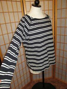 Lands End French Sailor top Nautical Stripes Women's Size 14-16 L Shirt cotton